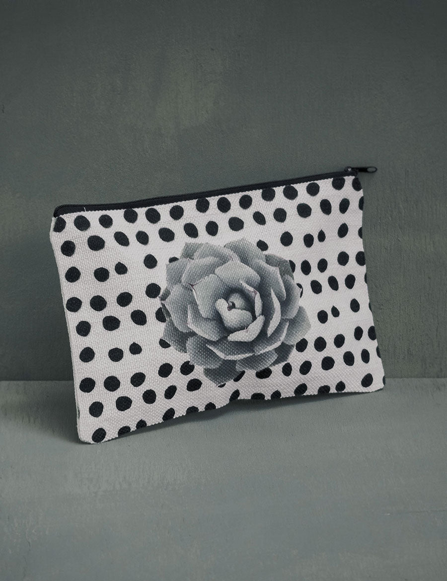 Succulent Polk-A-Dot Cosmetic Pouch