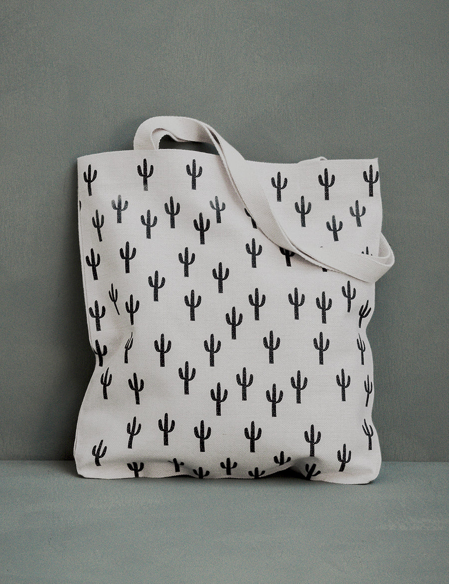 White Saguaro Canvas Tote Bag
