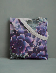 Purple Succulent Canvas Tote Bag