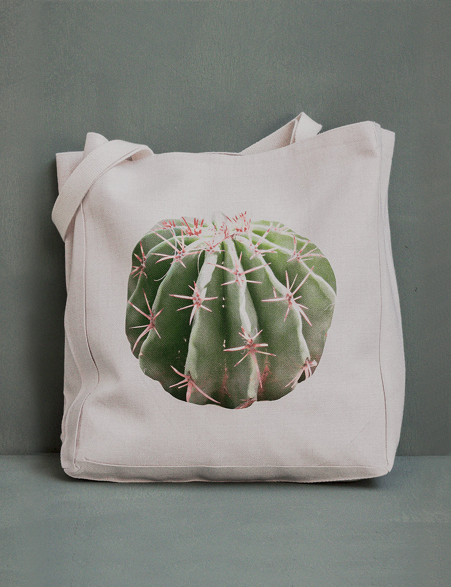 Barrel Cactus Canvas Tote Bag