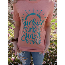 Load image into Gallery viewer, Sunrise, Sunburn, Sunset, repeat graphic tee