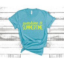 Load image into Gallery viewer, Sunshine and Summertime Graphic Tee | Printed in the USA Aqua