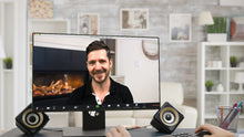 Load image into Gallery viewer, Corner Fireplace (Sitting) ZOOM Video Conference Background