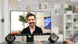 Living Room Corner with TV ZOOM Video Conference Background