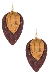 Double Link Leaf Shape Earring (Burgundy/Yellow)