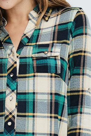 Plus Size Long Sleeve Plaid Button Down Flannel Shirt (Hunter Green)