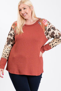 Curvy Mixed Sleeve Thermal Top