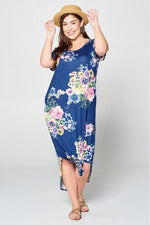 Load image into Gallery viewer, Curvy Navy Floral Maxi Dress
