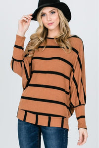 Camel Striped Perfection Top