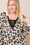 Plus Size Leopard Print Lace Up Cheetah Sweater (Ivory)