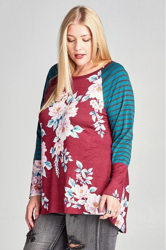 Plus Size Floral Knit Top with Striped Sleeves (Burgundy/Blue)
