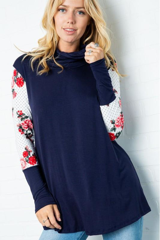Navy Floral Contrast Tunic Top