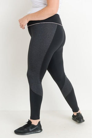 Curvy Highwaist Block Stripe Leggings