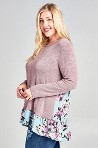 Curvy Two-Tone Knit Top with Floral Contrast Back