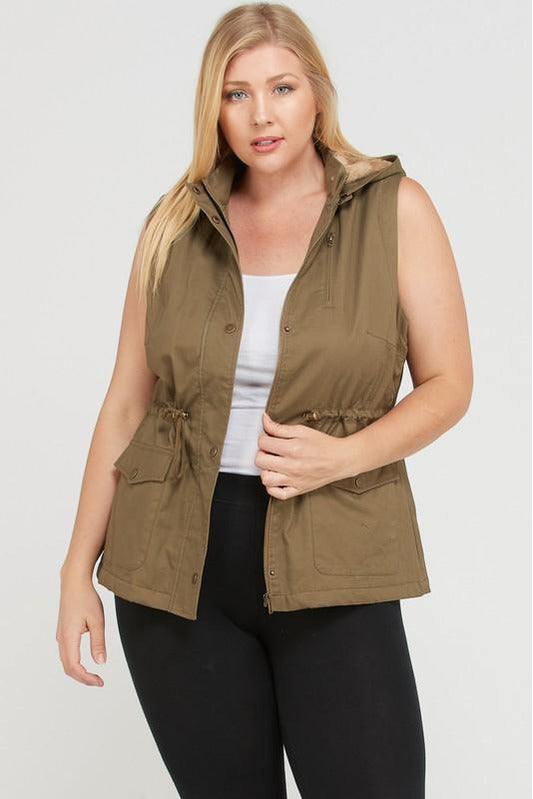 Sleeveless Sherpa Lined Hooded Utility Vest (Olive)