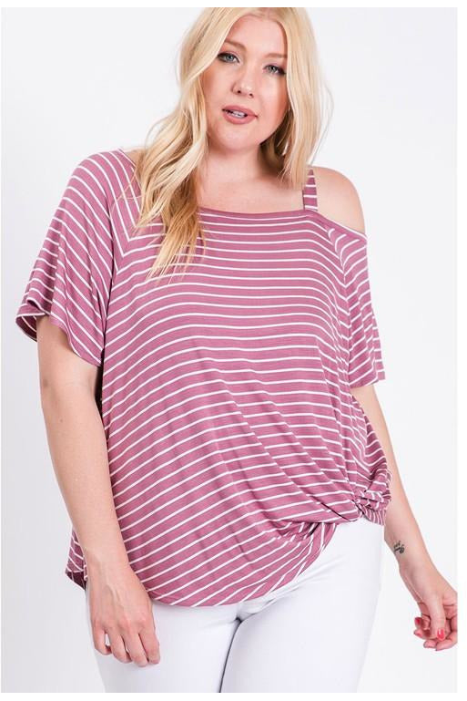 Curvy Striped One Shoulder Top
