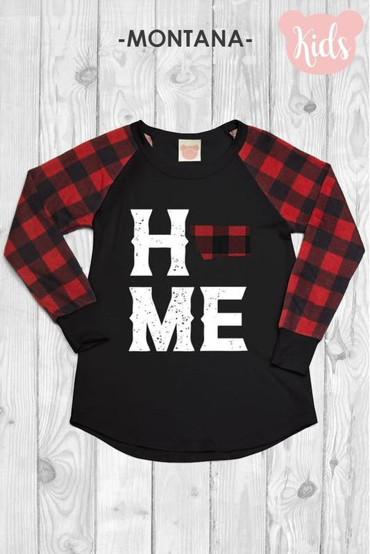 Kids Long Sleeve Buffalo Plaid MT State Home Patch Baseball Top
