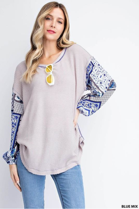 Boho Sleeve Top (Blue)
