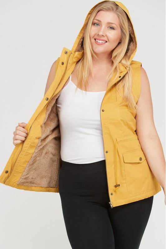 Plus Size Sleeveless Sherpa Lined Hooded Utility Vest (Mustard)