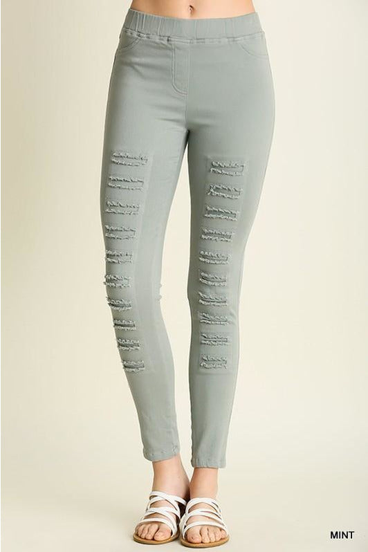 High Waist Distressed Jeggings (Mint)