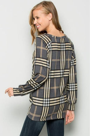 Plus Size Long Sleeve Plaid Tunic Top
