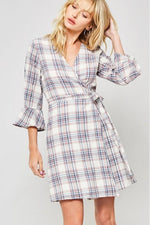 Load image into Gallery viewer, Plaid Wrap Dress (Navy)
