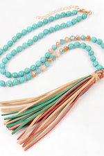 Load image into Gallery viewer, Leather Tassel Necklace