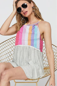 Touch of Crotchet Striped Halter Top