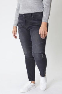 In Stock Curvy Kan Can Charcoal Low Rise Moto Skinny Jeans