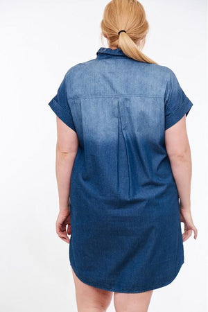 Curvy Dip Dye Denim Shirt Dress