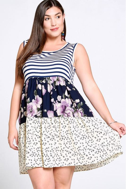 Curvy Navy Tiered Goodness Dress