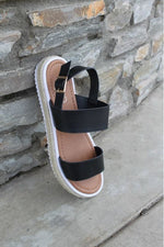 Load image into Gallery viewer, Espadrille Wedge Summer Sandal (Black)
