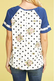 Polka Dot V-Neck Placket Top