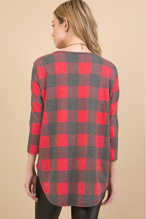 Curvy French Terry Red Plaid Top