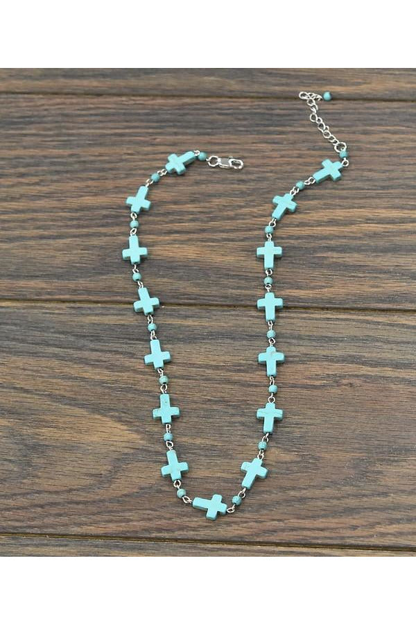 Handcrafted Turquoise Cross Necklace
