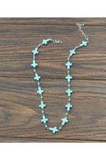 Load image into Gallery viewer, Handcrafted Turquoise Cross Necklace