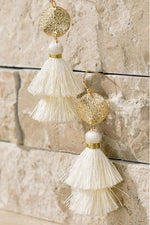 Load image into Gallery viewer, Disk & Tassel Earrings