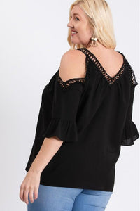Curvy Off Shoulder Embroidered Blouse