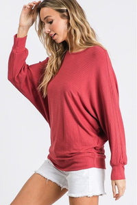 Ribbed Dolman Sleeve Top
