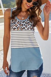 Striped Sleeveless Animal Print Top