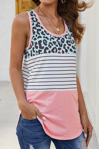 Pink Leopard Sleeveless Top
