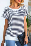 Navy Stripe Casual Top