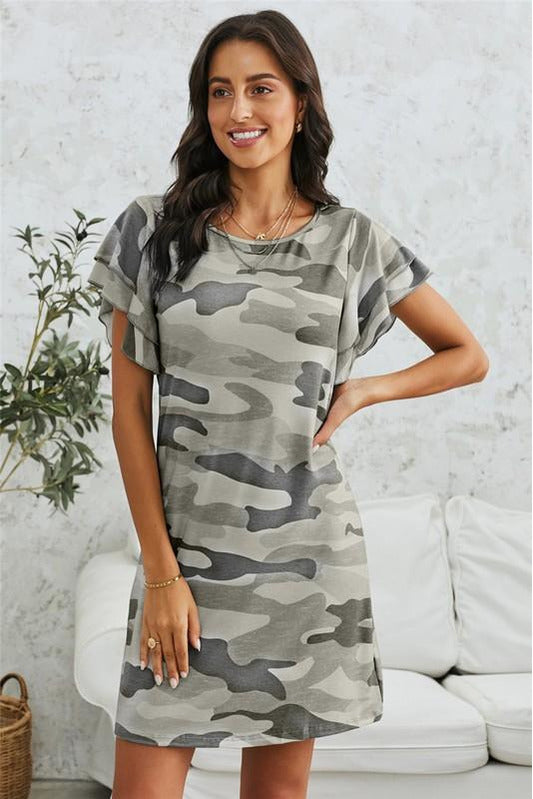 Pile of Sleeves Camouflage Dress