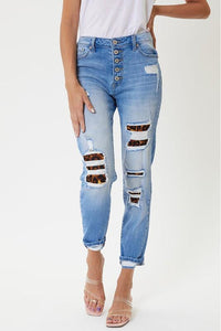 Kan Can High Rise Leopard Patch Skinny Jeans