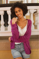 Load image into Gallery viewer, Plum Open Crotchet Knit Cardigan