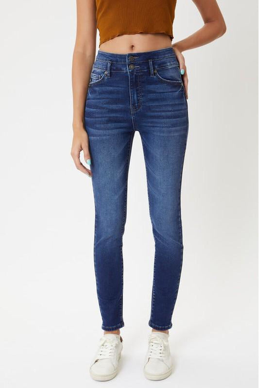 In Stock Kan Can Sparkly High Rise Banded Skinnies