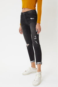 Kan Can High Rise Black Button Fly Skinnies