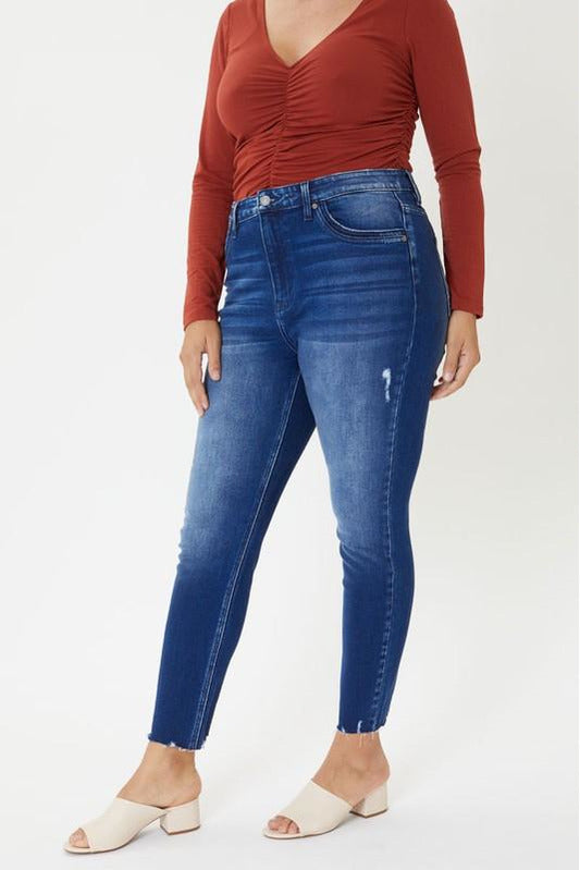 IN STOCK Curvy Kan Can High Waist Raw Ankle Jeans