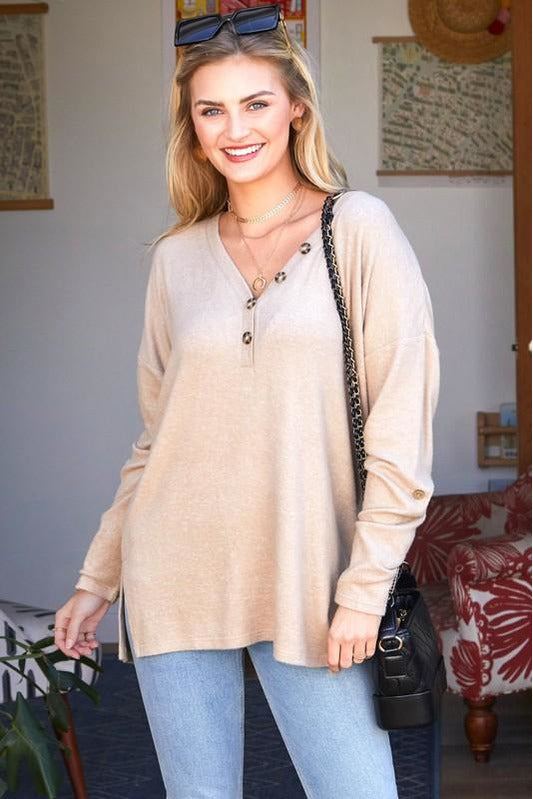 Jessi Long Sleeve Henley Top