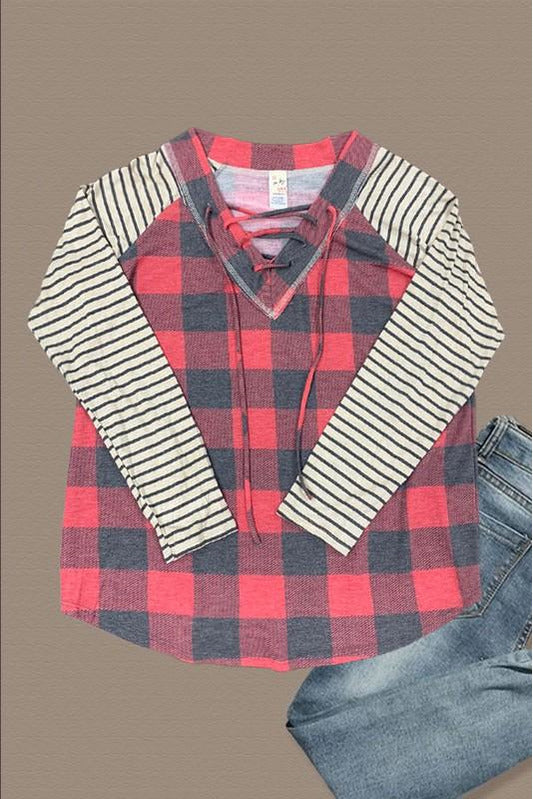 Curvy Plaid Lace Up Top
